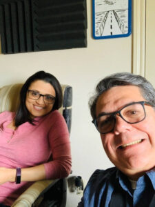 Melissa & Javier at the recording studio